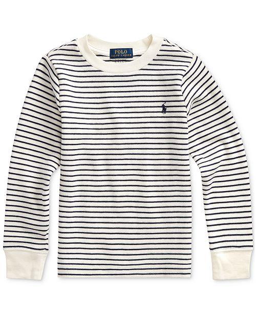 Polo Ralph Lauren Toddler Boys Waffle Knit Stripe Sweatshirt