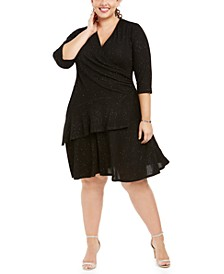 Plus Size Surplice Glitter Sweater Dress