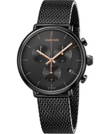 Unisex Chronograph High Noon Black PVD Stainless Steel Mesh Bracelet Watch 43mm