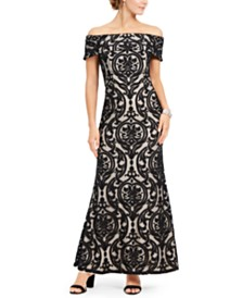 28th & Park Off-The-Shoulder Lace Gown, Created For Macy's