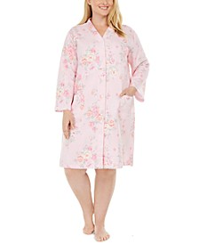 Plus Size Floral-Print Quilted Snap Robe