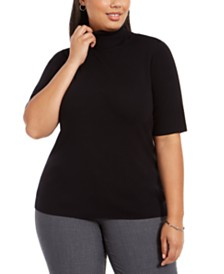 Alfani Plus Size Elbow-Sleeve Turtleneck Sweater, Created For Macy's