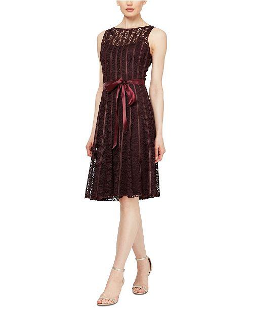 SL Fashions Sleeveless Belted A-Line Lace Dress