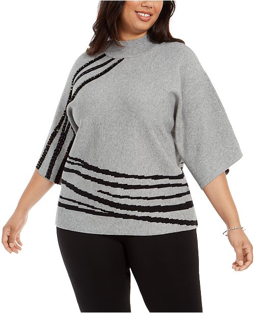Alfani Plus Size Mock-Neck Sweater, Created For Macy's