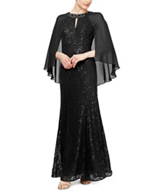 SL Fashions Sequined Cape Gown