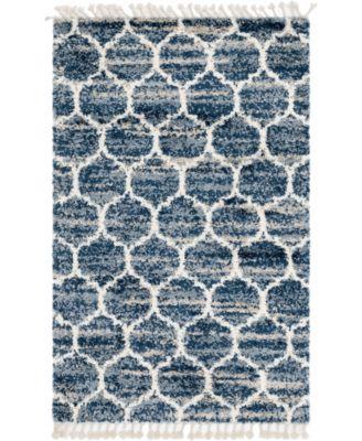 Lochcort Shag Loc1 Blue 8' x 8' Square Area Rug