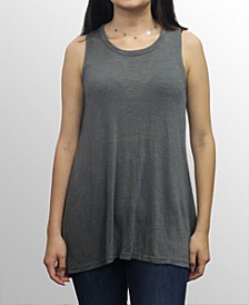 Womens Slub Jersey Split Button Back Tank Top