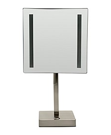 Brushed Nickel Tabletop Square 5x Magnifying Cosmetic Mirror with Light