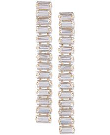 GUESS Baguette-Crystal Linear Drop Earrings