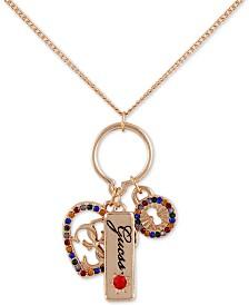 "GUESS Crystal Heart, Padlock & Logo Charm Pendant Necklace, 18"" + 2"" extender"