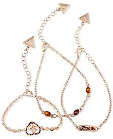 GUESS 3-Pc. Set Crystal Quatro-G Heart Chain Bracelets