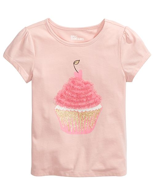 Epic Threads Little Girls Cupcake-Print T-Shirt, Created For Macy's