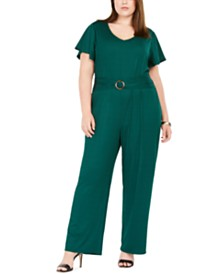 NY Collection Plus Size Ribbed Belted Jumpsuit