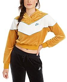 Women's Sportswear Heritage Colorblocked Velour Cropped Hoodie