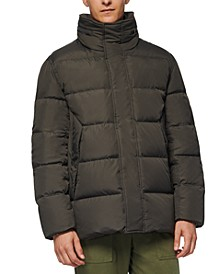 Men's Down Puffer Jacket with Fleece Bib
