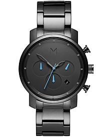 Men's Chrono Gunmetal Stainless Steel Bracelet Watch 40mm