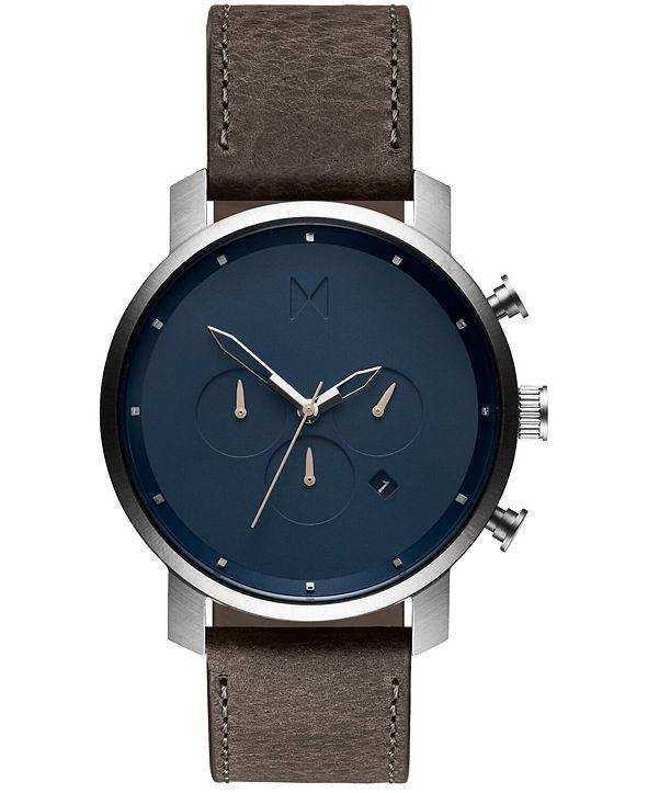 MVMT Men's Chrono Cedar Leather Strap Watch 45mm