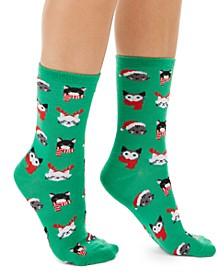 Women's Holiday Cats Crew Socks, Created For Macy's