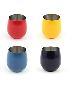 20oz Stemless Wine Glasses, Set of 4 - Scarlet, Daffodil, Lapis and Cobalt