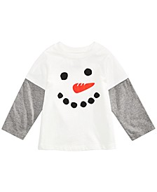 Baby Boys Snowman-Print Layered-Look Cotton T-Shirt, Created For Macy's