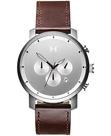 Men's Chrono Brown Leather Strap Watch 45mm