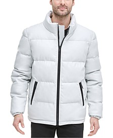 Men's Quilted Faux Leather Puffer Jacket, Created For Macy's