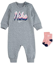 Baby Girls 2-Pc. Logo-Print Coverall & Socks Set