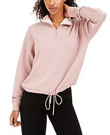Juniors' Sherpa Lined Quarter-Zip Sweatshirt