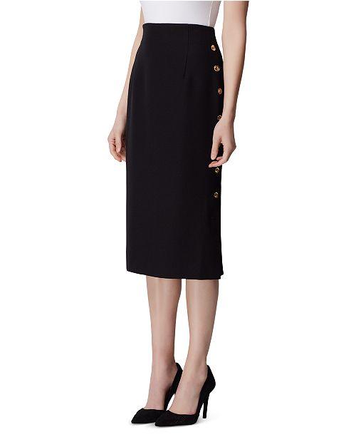 Tahari ASL Petite Button-Side Pencil Skirt