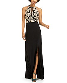 Juniors' Glitter-Lace Gown