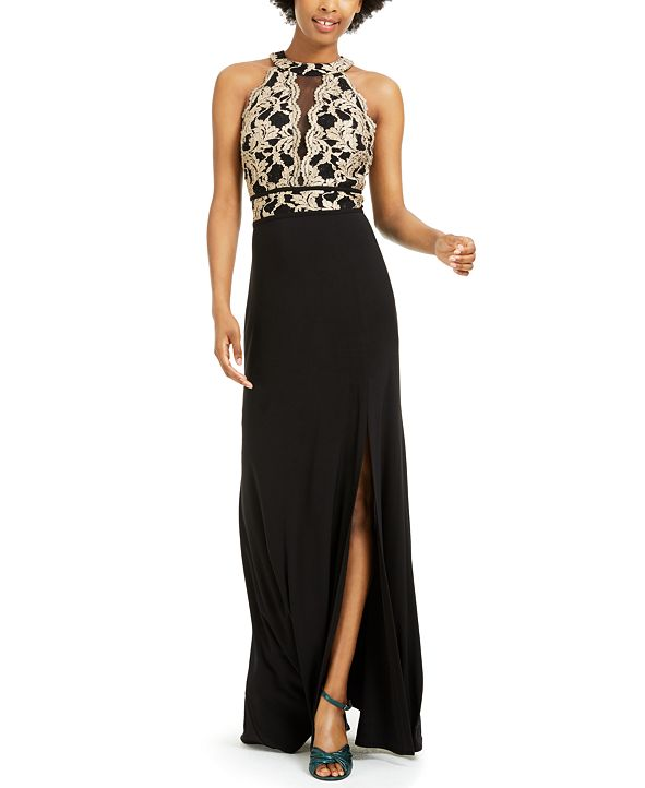 Morgan & Company Juniors' Glitter-Lace Gown