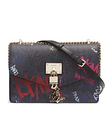 Elissa Leather Graffiti Large Logo Shoulder Bag, Created for Macy's