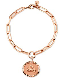 Princess Crown Link Bracelet in Fine Silver Plated Rose Gold
