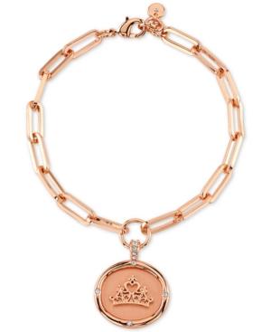 Princess Crown Link Bracelet in Fine Silver Plated Rose Gold