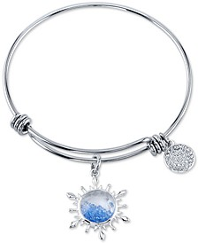 Frozen 2 Blue Crystal Snowflake Charm Bangle Bracelet in Stainless Steel