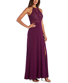 Morgan & Company Juniors' Sequined Lace Halter Gown