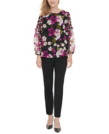 Calvin Klein Floral-Print Ruffled Top