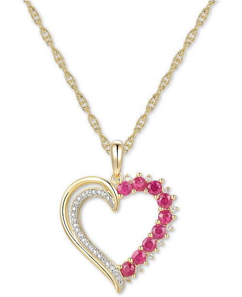 "Macy's Certified Ruby (1/2 ct. t.w.) & Diamond (1/20 ct. t.w.) Open Heart 18"" Pendant Necklace in 14k Gold-Plated Sterling Silver"