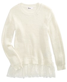 Big Girls Lace Peplum Sweater, Created For Macy's
