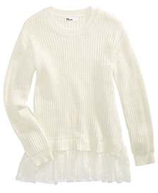 Epic Threads Big Girls Lace Peplum Sweater, Created For Macy's