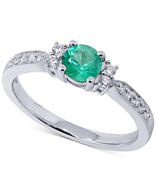 Emerald (1/3 ct. t.w.) & Diamond (1/6 ct. t.w.) Ring in 14k White Gold