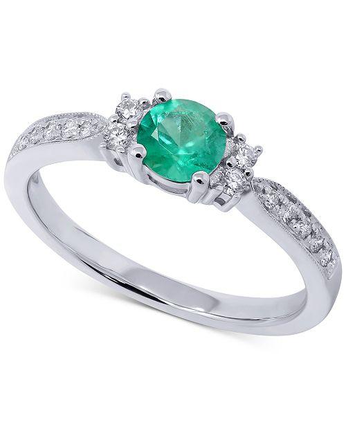 Macy's Emerald (1/3 ct. t.w.) & Diamond (1/6 ct. t.w.) Ring in 14k White Gold