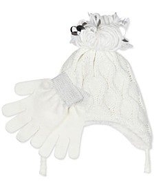 Big Girls 2-Pc. Popcorn-Knit Heidi Hat & Gloves Set