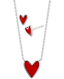 Red Heart Stud Earrings and Pendant Necklace Set in Fine Silver-Plate