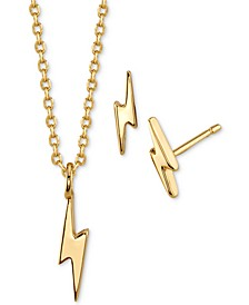 Mini Lightning Bolt Stud Earrings and Pendant in Fine Plated Silver Necklace Set, Created for Macy's