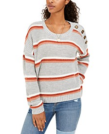 Juniors' Button-Shoulder Sweater