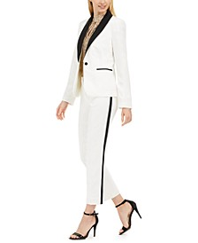 Tuxedo Jacket, Sequin Keyhole Top & Straight-Leg Tuxedo Pants