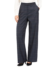Wide-Leg Plaid Dress Pants