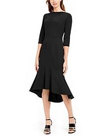 Ruffled-Hem Midi Dress