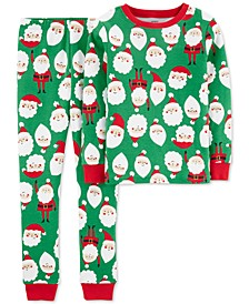 Little & Big Boys 2-Pc. Cotton Santa-Print Pajamas Set